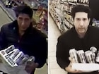 Left: The man Blackpool Police want to speak to. Right: David Schwimmer.