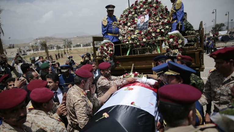 Houthi Shiite mourners attend the funeral of Saleh al-Samad, a senior Houthi official who was killed by a Saudi-led coalition airstrike on Yemen believed carried out by a Chinese drone.