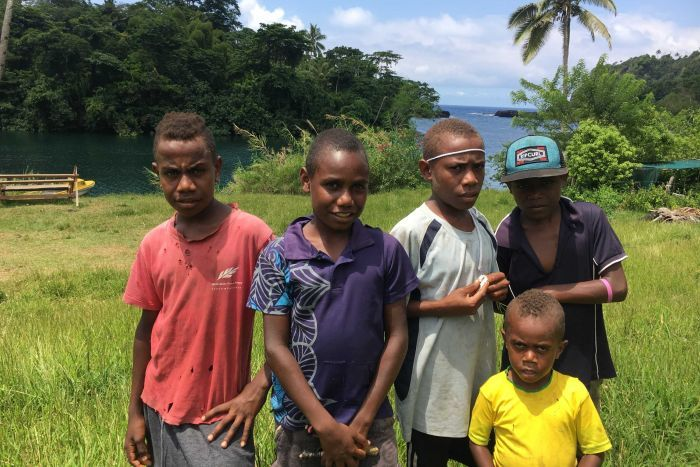 Five boys stand in a line for a photo with palm trees and jungle in the background in Vanuatu.