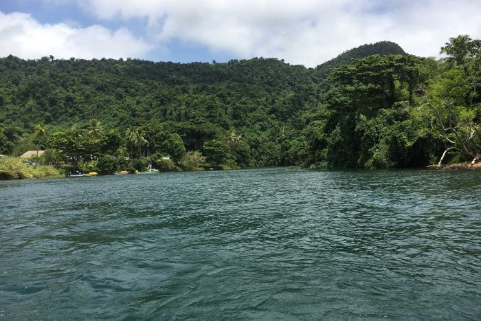 A view of the sea taken from a boat approaching the small jungle town of South River in Vanuatu