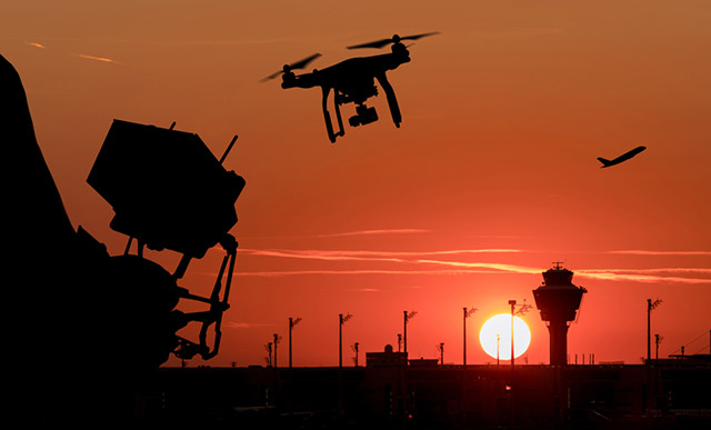 Image result for airport drone sunset