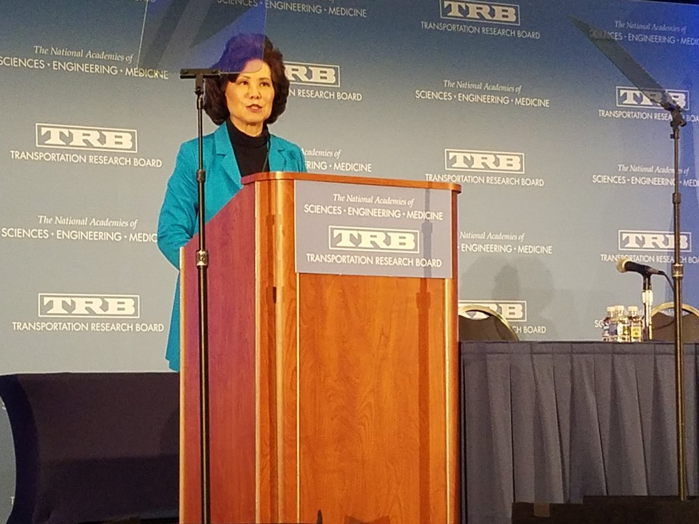Chao speaking at TRB 2019. Photo Credit: FW Staff