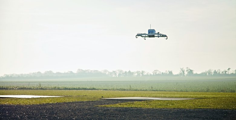 An Amazon Prime Air drone on a 2016 test flight in Cambridgeshire, United Kingdom. (Amazon via AP, File)