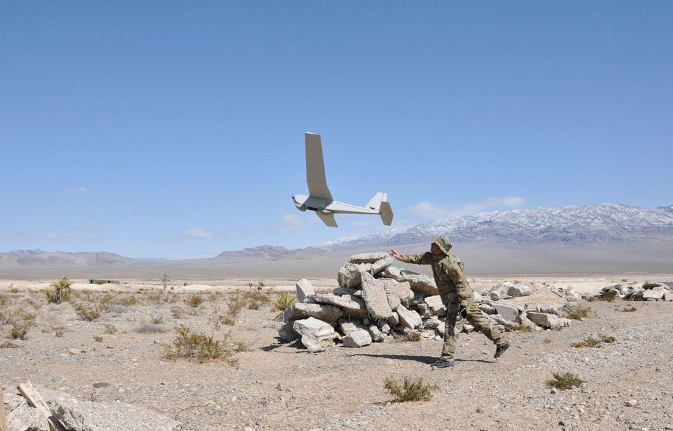 The AeroVironment Puma drone, already used by the military, can be launched by hand.