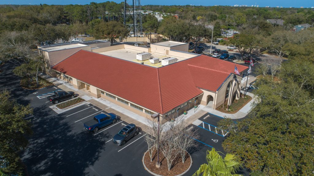 aerial drone photograph of Dorothy Hukill Building