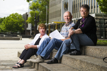Bonython residents Elizabeth Stokker, Nev Sheather and Margaret Sinfield, pictured above, have been vocal opponents of the drone delivery trial