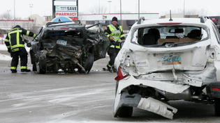 Firefighters clean up debris Jan. 6, 2018, from a crash that killed a 2-year-old boy at U.S. Highway 10 and 34th Street in Moorhead. Forum file photo