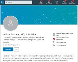 LinkedIn profile of William Matzner MD California