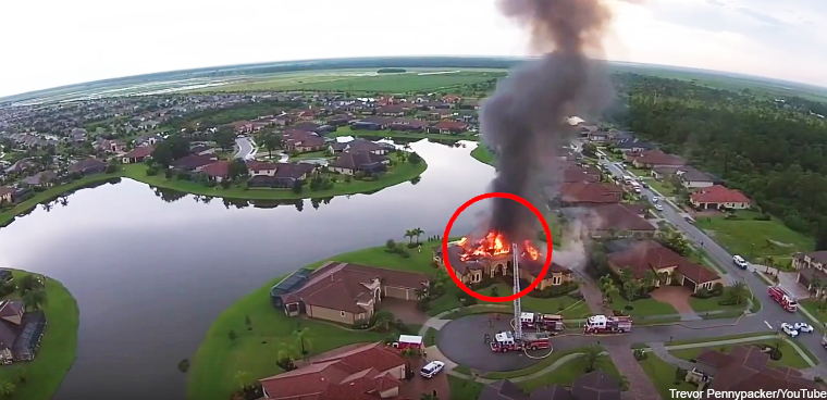 Paladin drone view of house fire (Trevor Pennypacker/YouTube)