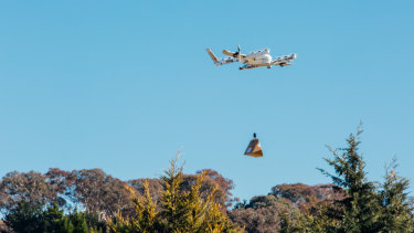 Wing's drones can carry 1.5kg - enough for a burrito, a coffee, or some over-the-counter medicine.