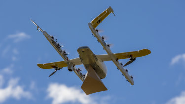 One of Wing's new quiet drones which are set to take to the skies above Logan later this month.