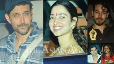 On Tuesday night, Bollywood celebrities like Ananya Panday, Disha Patani, Varun Dhawan, Tamannaah Bhatia, Jackie Shroff others attended special screening of Hrithik Roshan and Tiger Shroff-starrer 'WAR'. (Photos: Viral Bhayani)