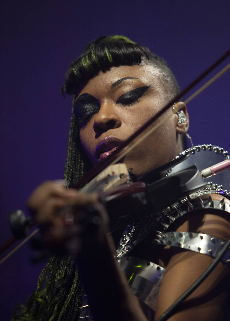 Sudan Archives plays electric violin during her set at Intersect Festival on Friday, Dec. 6, 20 ...